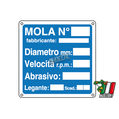 Cartello Mola numero 250x250mm